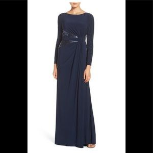 Adrianna Papell Gown Navy Sequin Cinch Waist NWT